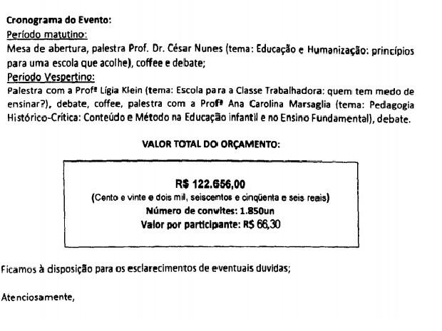 Orçamento dado pela empresa que organizou o evento em Limeira (Foto: Reprodução)
