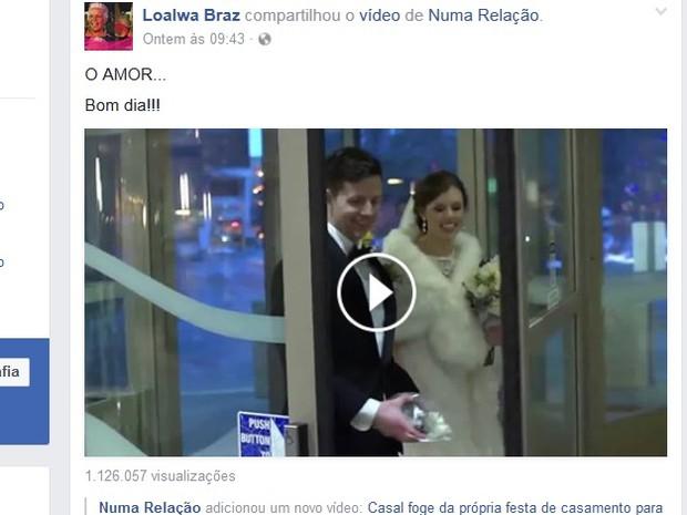 Loalwa postou pela última vez em rede social vídeo sobre amor (Foto: Facebook/Reprodução)