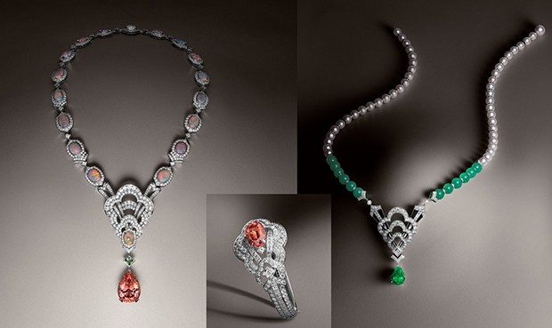 The Louis Vuitton Monogram flower and the V, brought together for the first time in one jewellery collection. Left: a necklace with a 37.07-carat imperial topaz, a demantoid garnet, opals and diamonds set in white gold and platinum; Middle: a bracelet with a 10.76-carat imperial topaz, set in white gold with diamonds; Right: a necklace with a 7.55-carat tsavorite garnet, chrysoprase, pearls, onyx, lacquer and diamonds set in white gold. (Foto: LOUIS VUITTON)