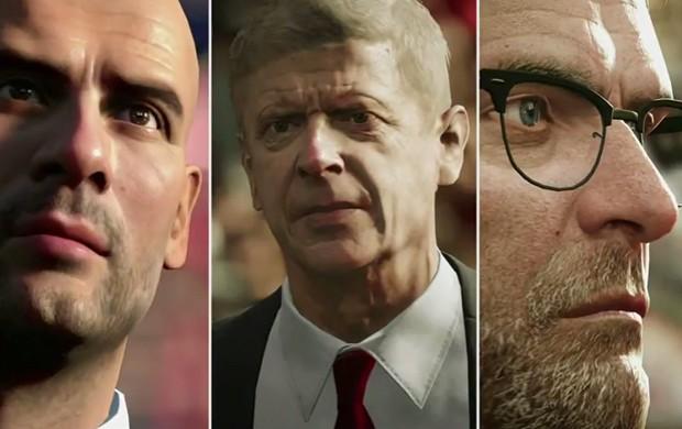 Técnicos do campeonato inglês de futebol, como Pepe Guardiola, Arsène Wenger e Jürgen Klopp, estarão em 'Fifa 17' (Foto: Reprodução)