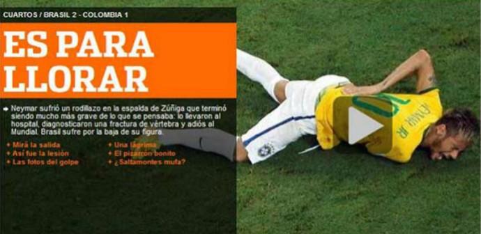 """Na sequência, o jornal """"Olé"""" reconheceu que Neymar tinha motivos para chorar: """"É para chorar"""" (Foto: Reprodução)"""