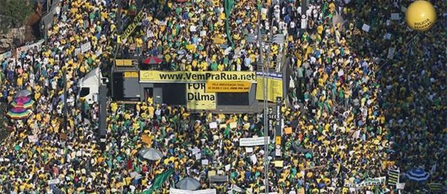 Avenida Paulista tomada por manifestantes, 12/04/2015 (Foto: Divulgação)