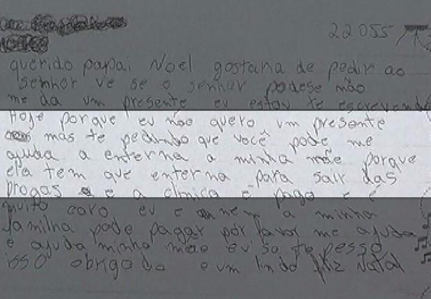 Carta traz apelo de adolescente, para que mãe seja internada (Foto: Reprodução / TV Tem)