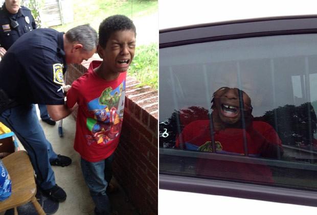 O menino Sean, de 10 anos, é algemado por policiais em simulação de prisão combinada pela mãe (Foto: Reprodução / Facebook)
