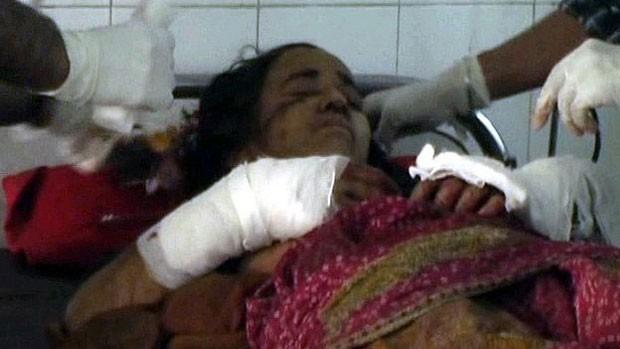A indiana Kamla Devi diz ter achado que estivesse morta ao ser atacada pelo leopardo (Foto: BBC)