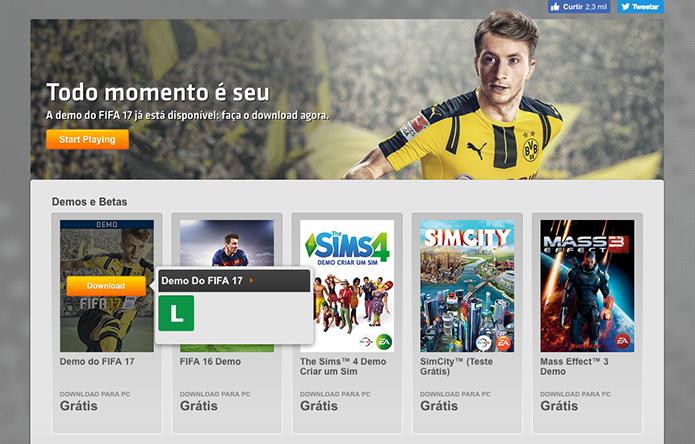 Baixe a demo de Fifa 17 no Origin (Foto: Reprodução/Murilo Molina)