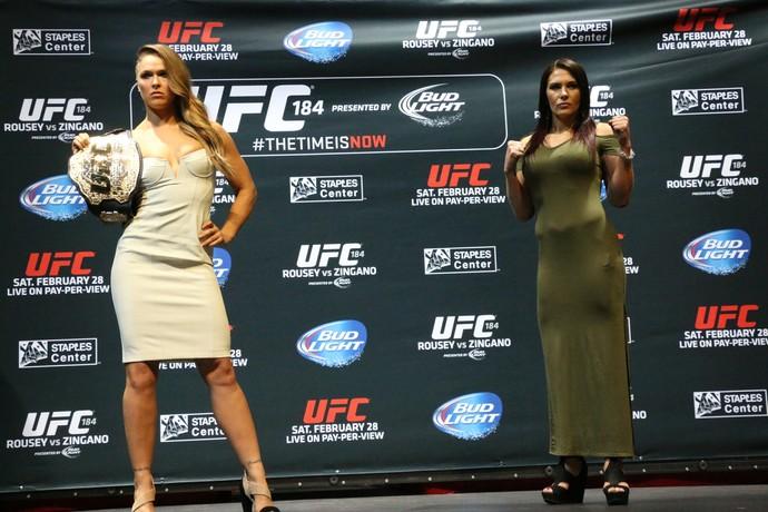 Ronda Rousey e Cat zingano media day ufc 184 (Foto: Evelyn Rodrigues)