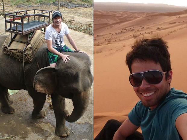 Mayke na Tailândia e Vitor no Marrocos: objetivo é viajar pelo mundo. (Foto: Arquivo pessoal)