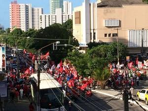 Manifestação em Natal (Foto: Klênyo Galvão/G1)