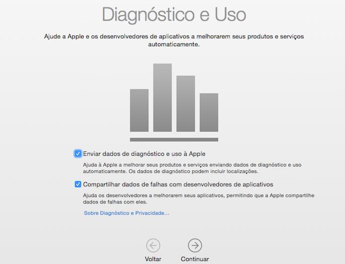 Selecione se deseja compartilhar dados de uso do computador com a Apple e desenvolvedores (Foto: Reprodução/Helito Bijora)
