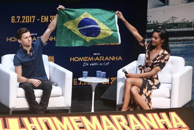 Tom Holland e Laura Harrier em SP (Foto: Manuela Scarpa/Brazil News)