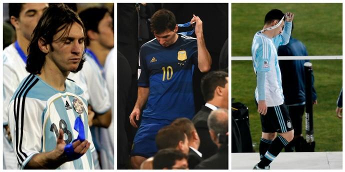 Messi vice Copa América 2007, Copa do Mundo 2014 e Copa América 2015 (Foto: Editoria de Arte / Montagem sobre fotos de Reuters, Getty Images e AP)