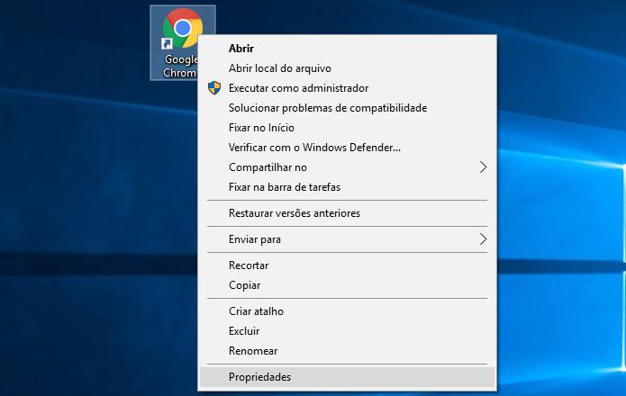 Acesse as propriedades do Chrome (Foto: Reprodução/Helito Bijora)