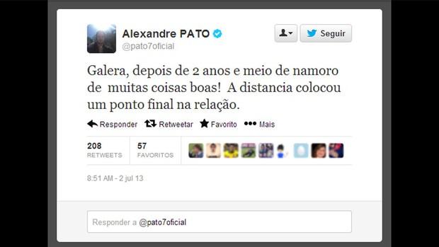 Reprodução twitter alexandre pato termino do namoro (Foto: Reprodução / Facebook)