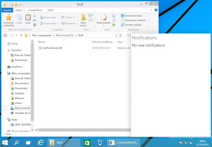 Central de Notificações do Windows 10 funcionando (Foto: Reprodução/Edivaldo Brito)