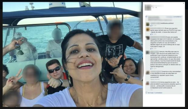 Deputados passearam de barco em Vitória, no ES (Foto: Reprodução/Facebook)