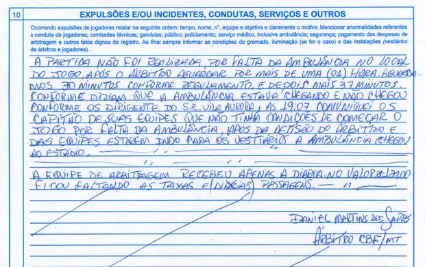 Súmula do jogo entre Vila Aurora x Luverdense Mato-grossense 2013 (Foto: Divulgação)
