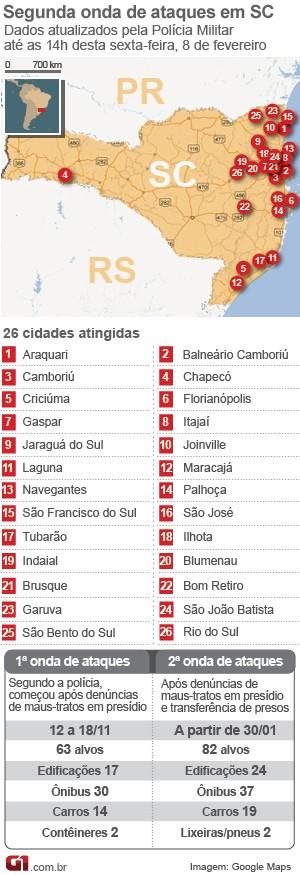 Mapa atentados Santa Catarina 8 de fevereiro, 15h (Foto: Arte/G1)