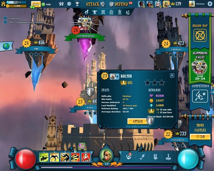 A interface de administração de suas aventuras mostra uma visão panorâmica da região em sua fortaleza voadora está (Foto: Reprodução/Daniel Ribeiro)