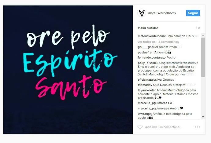 Mateus Verdelho publicou imagem em apoio aos capixabas (Foto: Reprodução Internet)