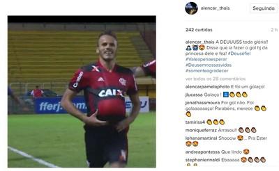 Thaís Alencar, esposa de Renê, vibrou com o golaço no Instagram (Foto: Reprodução/Instagram)