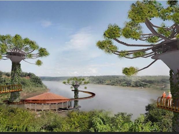 Projeto prevê torres no formato de árvores, passarelas, restaurante e centro cultural  (Foto: Fundo Iguaçu / Divulgação)