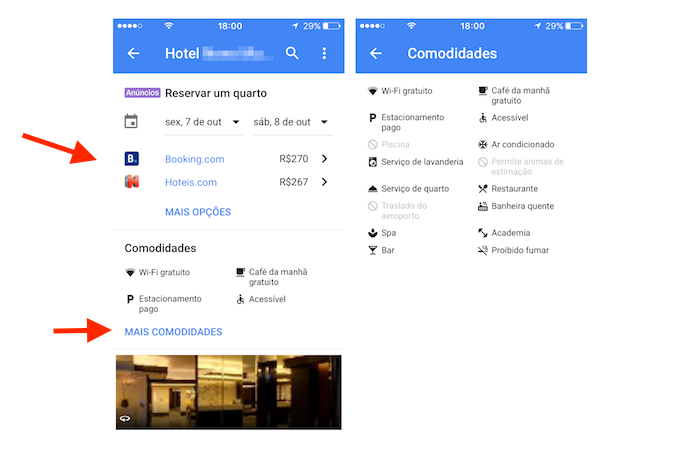 Preços e comodidades oferecidas por um hotel visualizados através do aplicativo Google Maps (Foto: Reprodução/Marvin Costa)
