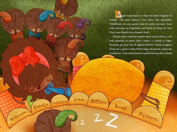 Uma das páginas do livro que conta a história de uma princesa negra e quer alertar as crianças para o racismo (Foto: Arquivo Pessoal/Juliana Fiorese)
