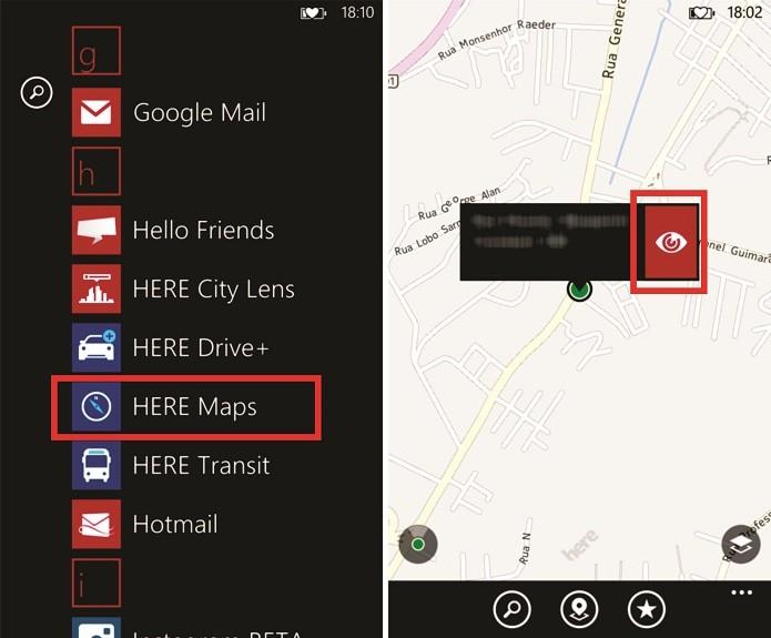 Here Maps mostra sua localização no Windows Phone 8, onde é possível ativar a função LiveSight com realidade aumentada (Foto: Reprodução/Elson de Souza)