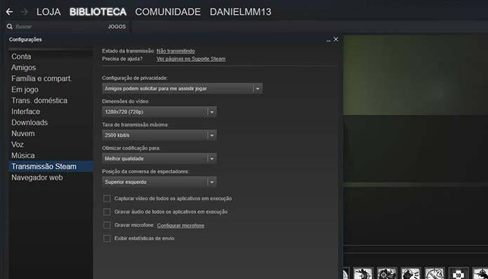 Configure a função no Steam (Foto: Reprodução/Murilo Molina)