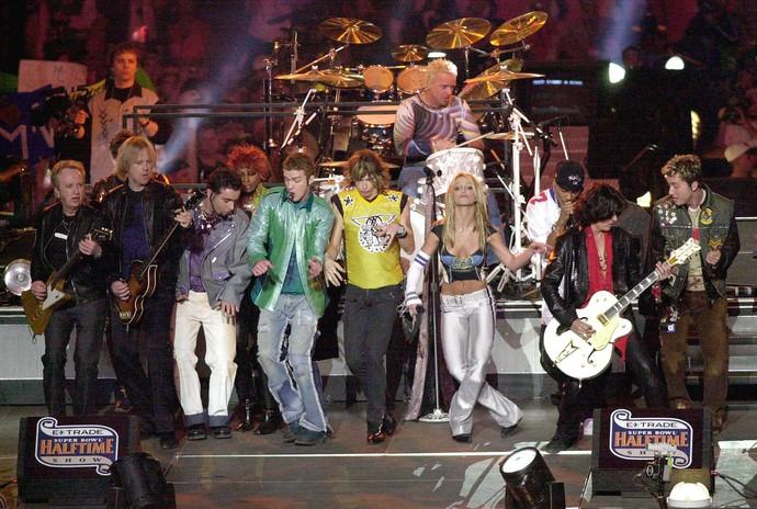 NSYNC, Britney Spears e Aerosmith superbowl 2001 (Foto: Doug Pensinger / Getty Images)