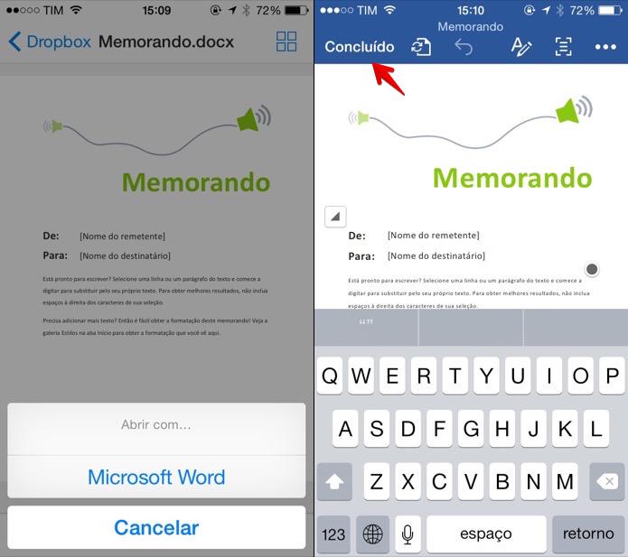 Editando documento salvo no Dropbox no aplicativo do Word (Foto: Reprodução/Helito Bijora)