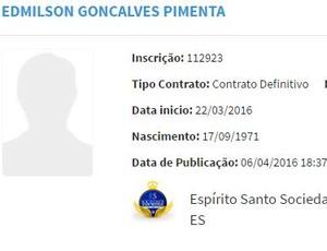 Edmilson Ratinho é inscrito no BID, aos 44 anos, presidente deve jogar a Série B (Foto: Reprodução/BID da CBF)