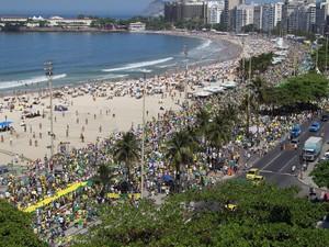 Manifestação na Praia de Copacabana contra o governo (Foto: Rodrigo Gorosito / G1)