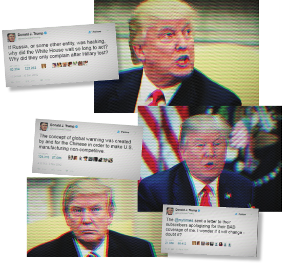 FATOS ALTERNATIVOS O presidente dos Estados Unidos, Donald Trump. Fã do Twitter, ele é emérito propagador de boatos (Foto: Chip Somodevilla/Getty Images, Olivier Douliery-Pool/Getty Images)
