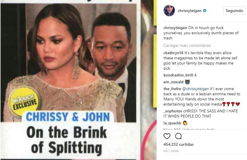 Chrissy Teigen xinga revista após boatos de separação (Foto: Reprodução/Instagram)