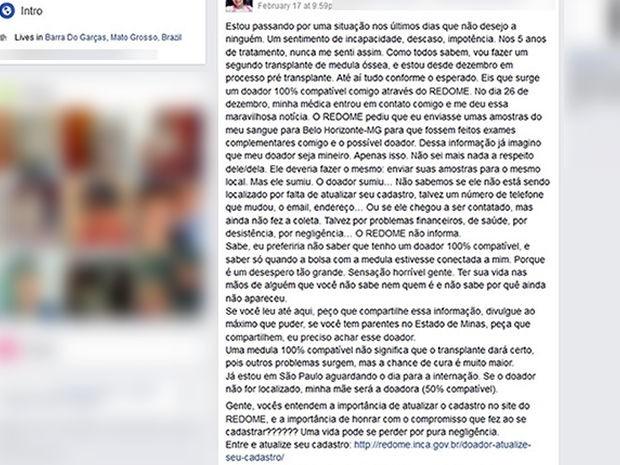 Postagem feita pela bióloga Nádia Andrade mobilizou as redes sociais (Foto: Arquivo pessoal)