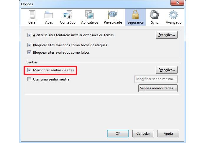 Memorização de senha do Facebook no Firefox  (Foto: Reprodução/Marcel Vaz)