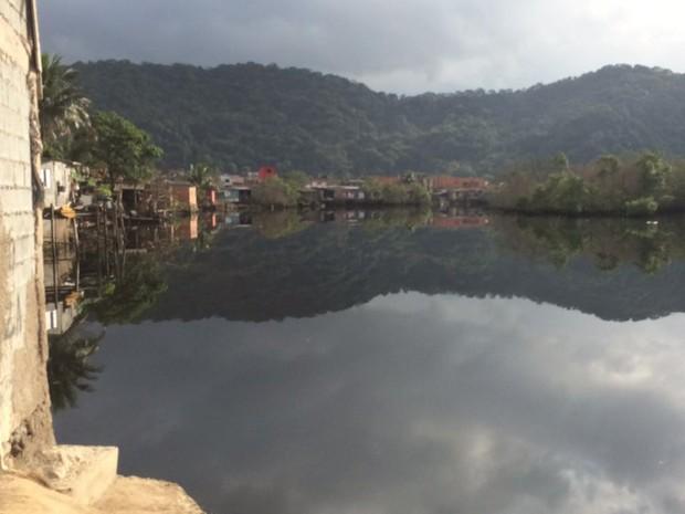 Corpo foi localizado em área de mangue em Cubatão, SP (Foto: Luiz Linna/G1)