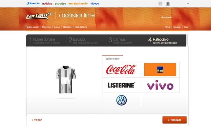 Guia Cartola tela escolha do Patrocinador (Foto: Reprodução)