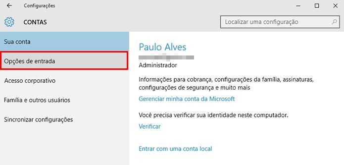 Abra as opções de login no Windows 10 (Foto: Reprodução/Paulo Alves)