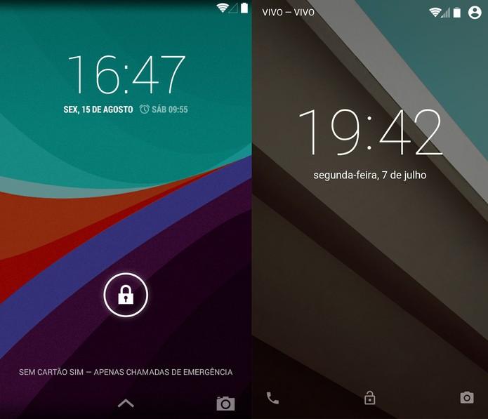 Tela de bloqueio do KitKat e do Android L (Foto: Reprodução)