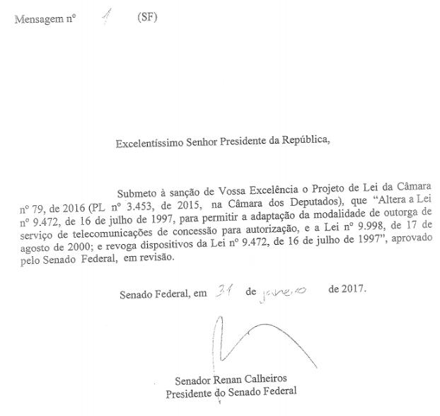 PL das Teles é encaminhado a Michel Temer (Foto: Reprodução)