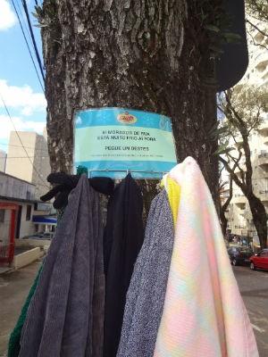 Doações ficam penduradas em árvores  (Foto: Adriana Justi / G1)