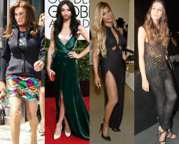 Caitlyn Jenner, Conchita Wurst, Laverne Cox e Lea T. serviram de referência para criação da primeira agência de modelos especializada em top transexuais (Foto: Getty Image e AKM)