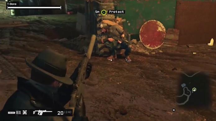 Bug em Watch Dogs faz personagem T-Bone ficar travado no meio da missão (Foto: Reprodução: YouTube)