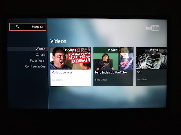 Acessando a página de pesquisa do aplicativo YouTube para Smart TVs (Foto: Reprodução/Marvin Costa)