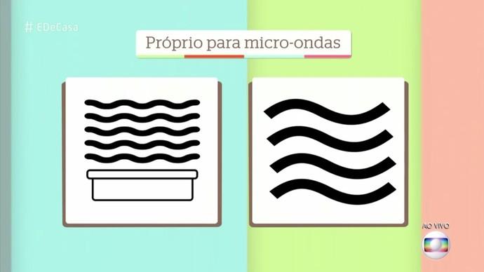 Recipientes plásticos com estes selos podem ir ao micro-ondas (Foto: TV Globo)