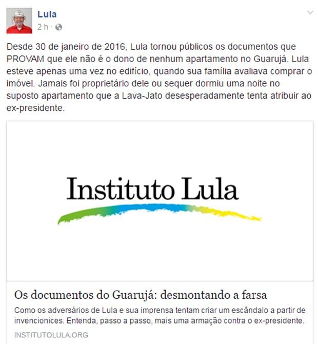 Ex-presidente Lula compartilhou texto em sua página no Facebook (Foto: Reprodução/Facebook)