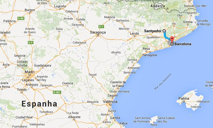 Reprodução mapa cidade Guardiola Santpedor - Barcelona (Foto: Reprodução Google)